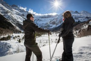 Ski avec vue sur le cirque de Gavarnie
